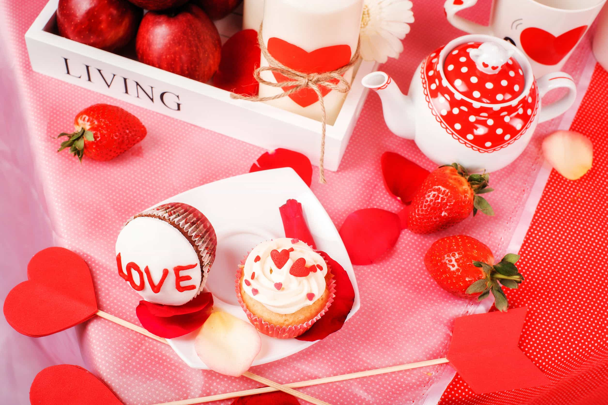58819353 - saint valentine red and white holiday decor in studio